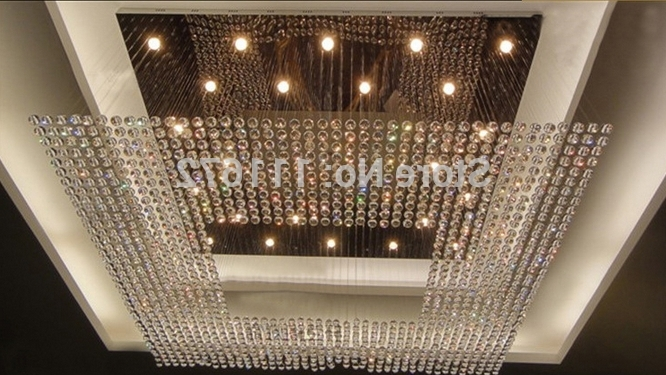 Popular New Square Modern String Big Crystal Chandelier Hotel Lobby Regarding Big Crystal Chandelier (View 3 of 10)