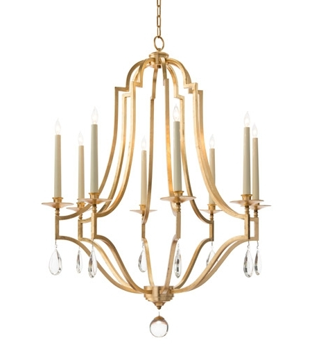 Popular Signature 8 Light 38 Inch Gold Leaf Chandelier Ceiling Light Throughout Gold Leaf Chandelier (View 6 of 10)