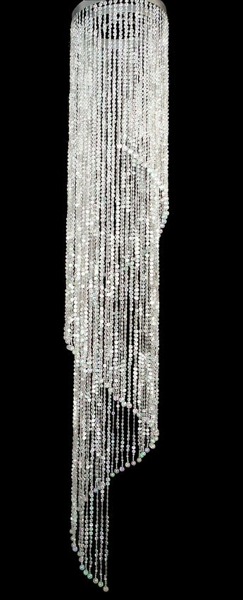 Popular Super Sized Beaded Spiral Chandelier 6Ft Long, Wedding Decor Direct Regarding Long Hanging Chandeliers (View 7 of 10)