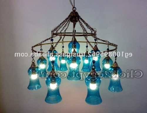Popular Turquoise Blown Glass Chandeliers Within Glamorous 4 Light Full Lead Turquoise Blue Crystal Chandelier (Gallery 10 of 10)