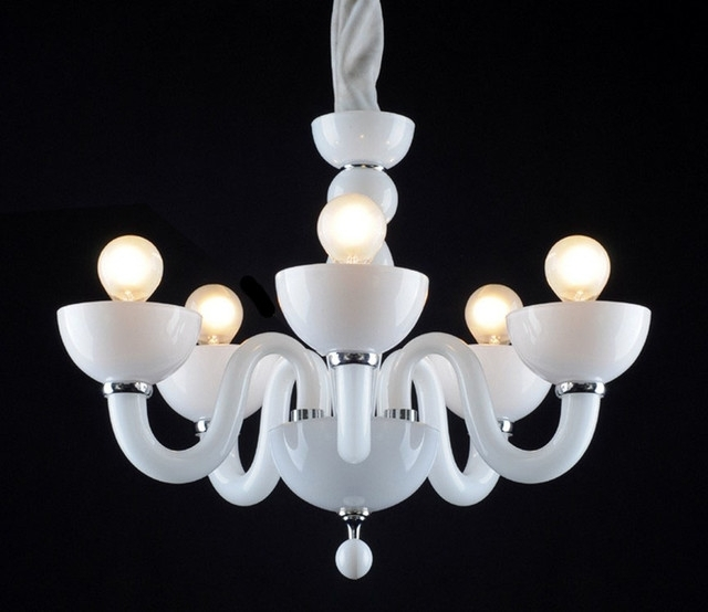 Popular White Contemporary Chandelier Throughout Chandelier: Inspiring White Modern Chandelier White And Crystal (View 6 of 10)