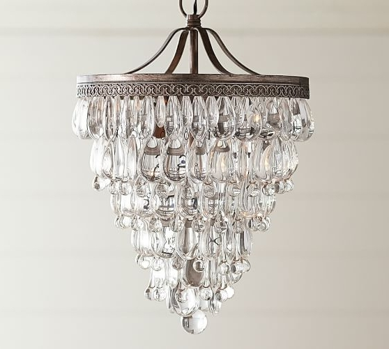 Pottery Barn With Trendy Glass Droplet Chandelier (View 7 of 10)
