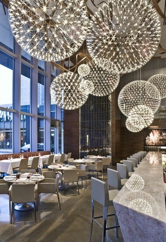Preferred Dandelion Chandeliers  Aria Restaurant In Toronto, Canada Intended For Restaurant Chandeliers (View 7 of 10)