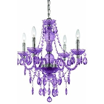 Preferred Purple Crystal Chandelier Lighting Regarding Af Lighting 8353 4H Naples Four Light Mini Chandelier  Light Purple (View 7 of 10)