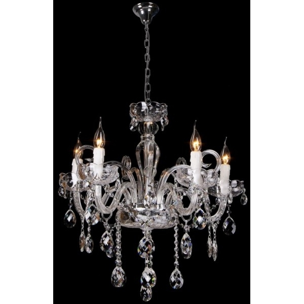 Premium Prague Chrome Chandelier With Lead Crystals With Regard To Widely Used Lead Crystal Chandelier (View 8 of 10)