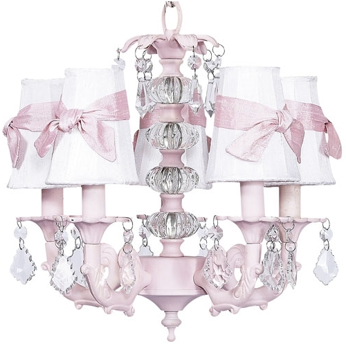Pretty Pink Chandelier For Baby Girl Nursery From Poshtots For Most Up To Date Cheap Chandeliers For Baby Girl Room (View 9 of 10)