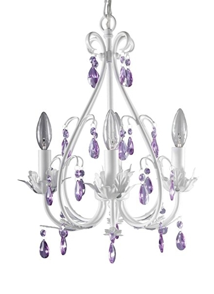 Purple Crystal Chandelier Lighting In Most Recent Firefly Kids Lighting – Sophia 4 Arm Crystal Chandelier, Purple (View 8 of 10)