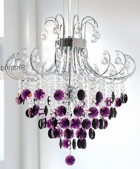 Purple Crystal Chandelier Lights Pertaining To Preferred ♥ *.¸.*.silver And Crystal Chandelier With Purple Drops (View 3 of 10)