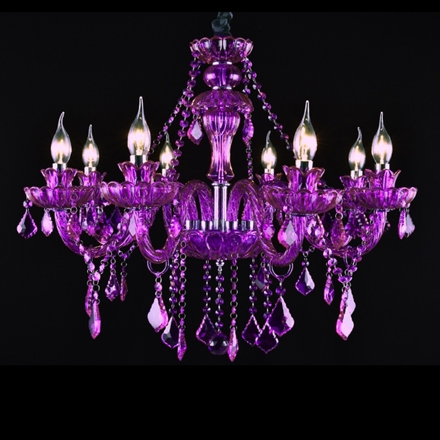 Purple Crystal Chandeliers Regarding Famous Villa Bedroom Luxury Chandelier 8 Lights Purple Crystal Chandelier (View 7 of 10)