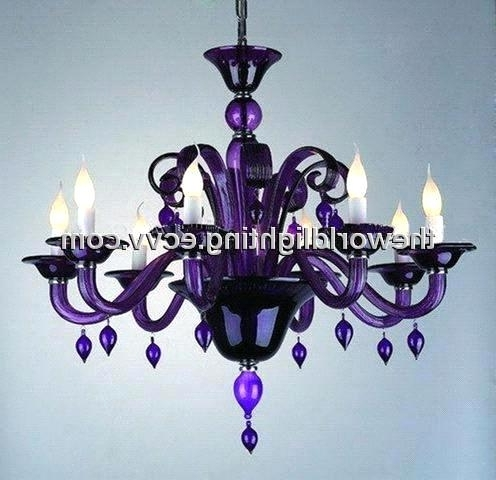 Purple Glass Chandelier With 8 Lights (Chg0005) Purchasing, Souring Within Latest Purple Crystal Chandeliers (View 9 of 10)