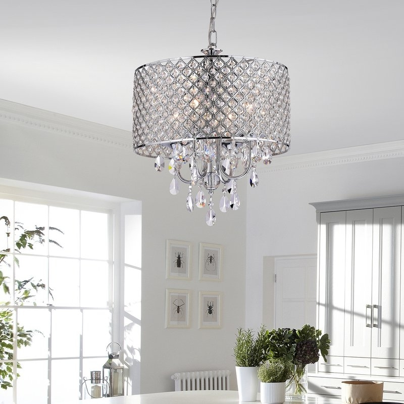 Recent 4 Light Crystal Chandeliers With Regard To House Of Hampton Clemence 4 Light Crystal Chandelier & Reviews (View 9 of 10)