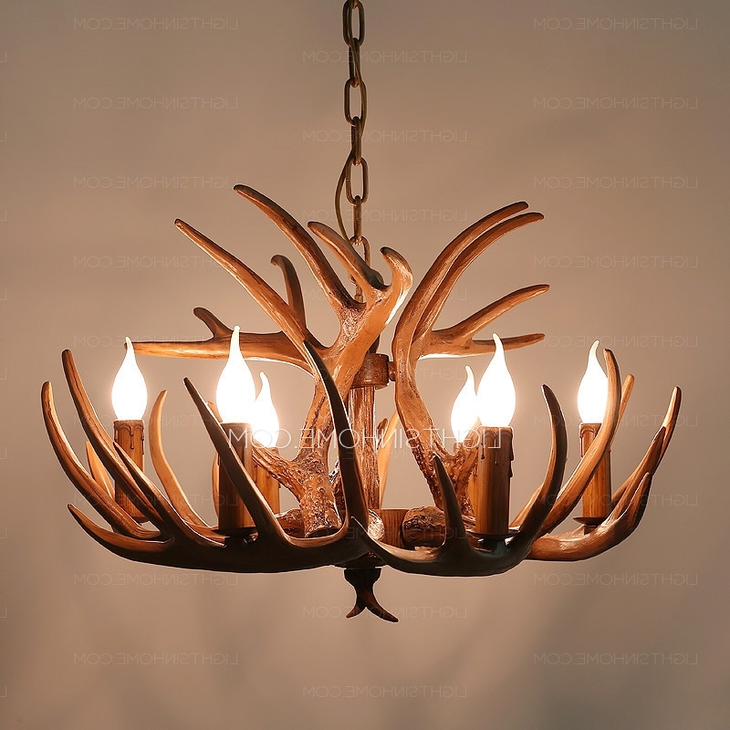 Recent Antler Chandeliers And Lighting For Vintage 6 Light Brown Resin Fixture Faux Antler Chandelier (View 8 of 10)