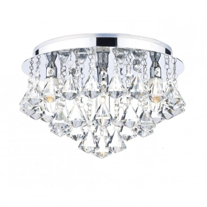 Recent Chandelier Bathroom Ceiling Lights Throughout Decorative Contemporary Bathroom Ceiling Light In Chrome & Crystal (View 10 of 10)