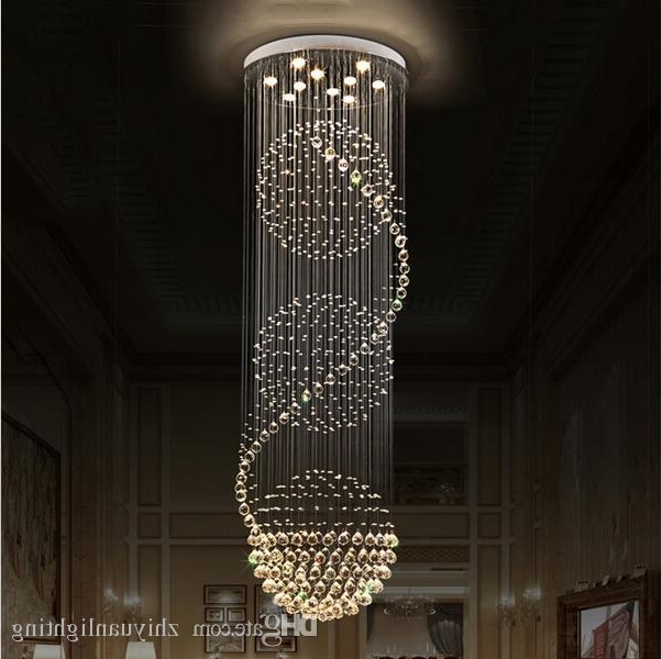 Recent Crystal Chandeliers In Led Crystal Chandeliers Lights Stairs Hanging Light Lamp Indoor (View 5 of 10)