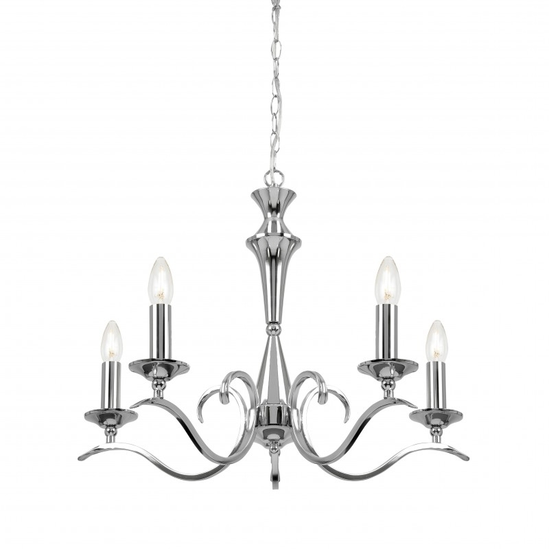 Recent Endon Lighting Kora Kora 5Ch Polished Chrome 5 Light Chandelier Regarding Endon Lighting Chandeliers (View 10 of 10)