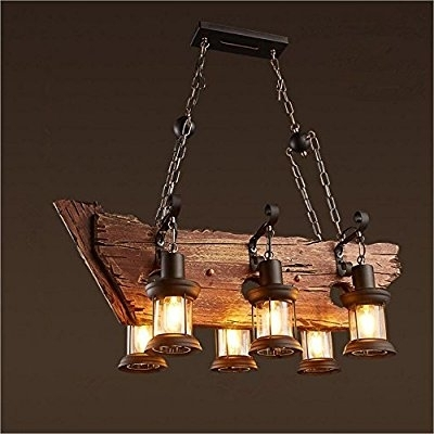 Recent Joypeach 6 Heads Vintage Wooden Chandeliers,retro Industrial Style Within Wooden Chandeliers (View 7 of 10)