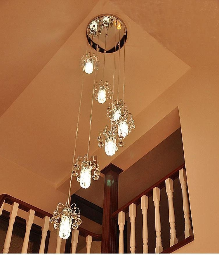 Recent Staircase Chandeliers Within Modern K9 Crystal Staircase Lights Chandelier Crystal Lamp Double (View 6 of 10)