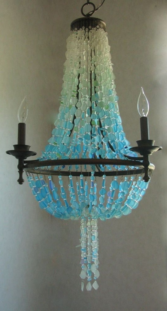 Recent Turquoise Ball Chandeliers For Sea Glass Chandelier Coastal Decor Beach Glass Ceiling Fixture (View 7 of 10)