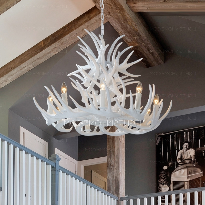 Recent White Antler Chandelier Inside 9 Light Modern Antler Chandelier White Painting Candle (View 7 of 10)