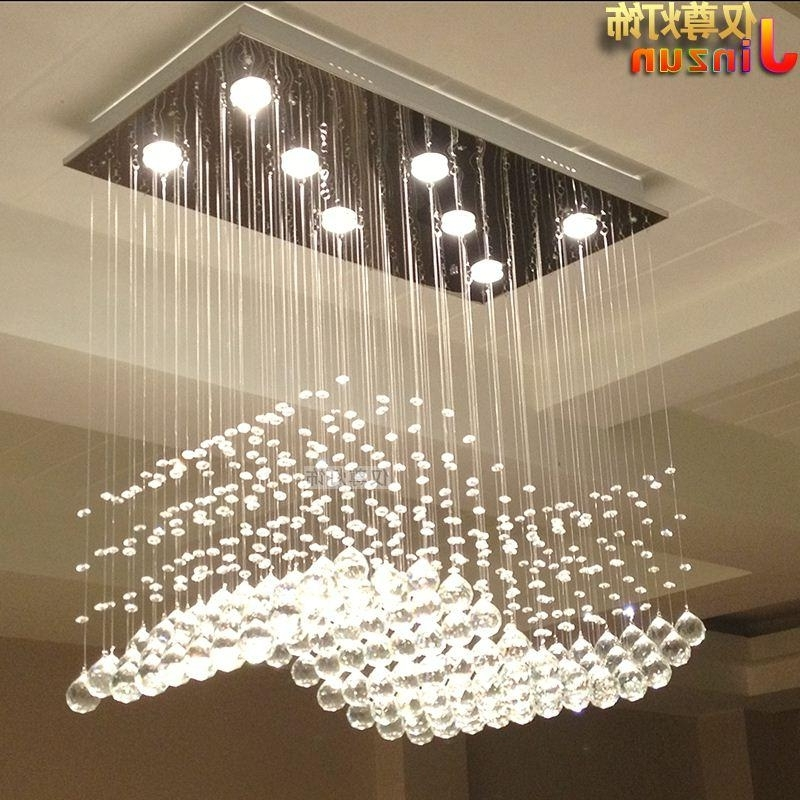 Rectangular Crystal Lamp Living Room Lights Restaurant Lights Wavy S In Fashionable Chandelier Lights For Living Room (View 9 of 10)