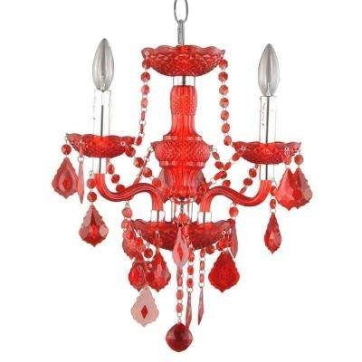 Red – Chandeliers – Lighting – The Home Depot Pertaining To Preferred Red Chandeliers (View 7 of 10)