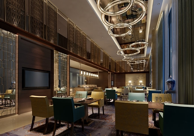 Restaurant Chandelier For Most Recently Released Luxury Restaurant With Fancy Chandelier 3D Model (View 5 of 10)