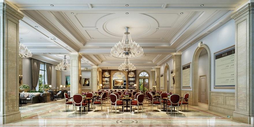 Restaurant Chandelier Regarding 2017 Luxury Restaurant With Classy Chandelier 3D Model Max Obj Mtl (View 10 of 10)