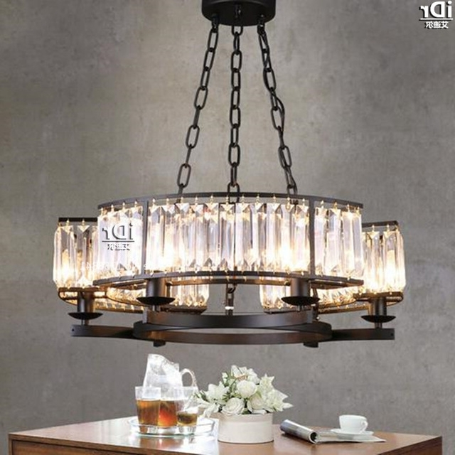 Restaurant Chandeliers For Newest Nordic Restaurant Lights Simple Black Wrought Iron Lamp Crystal (View 8 of 10)