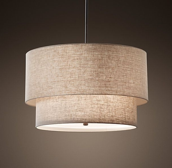 Featured Photo of Fabric Drum Shade Chandeliers