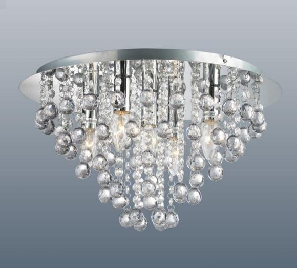 Round 5 Light Chrome Ceiling Lights Flush Fitting Crystal Droplet Throughout Most Up To Date Flush Fitting Chandelier (View 10 of 10)