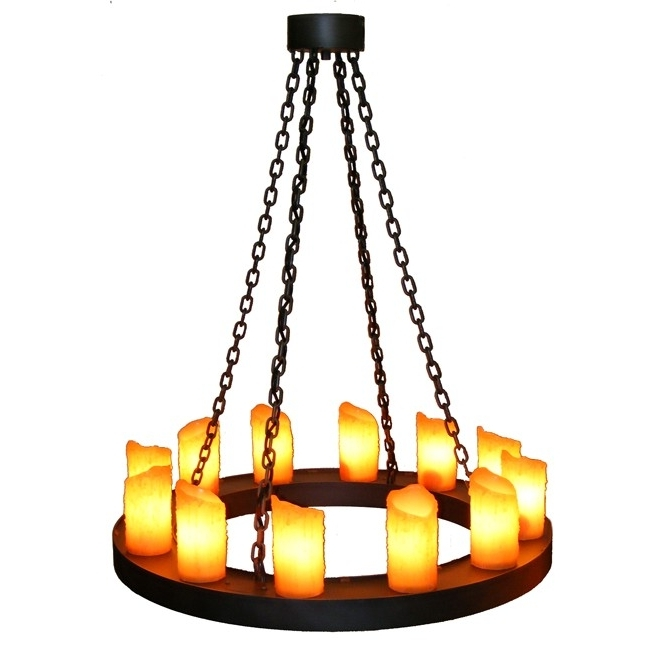 Rustic Old Iron One Tier Candle Chandelier – Reclaimed Furniture Intended For Fashionable Candle Look Chandeliers (View 6 of 10)