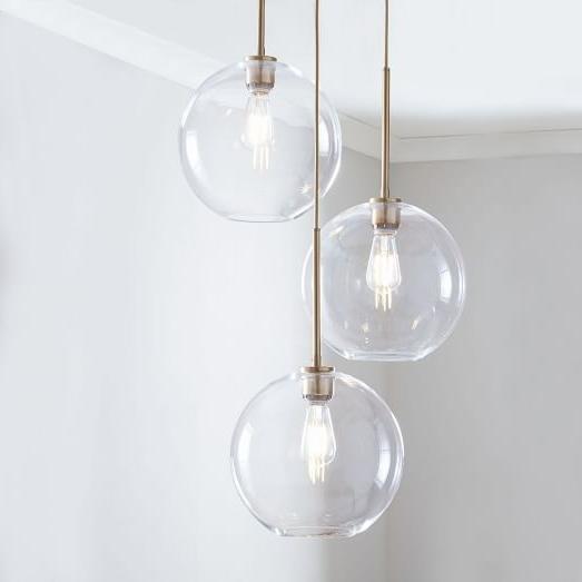 Sculptural Glass Globe 3 Light Chandelier – Medium (View 6 of 10)