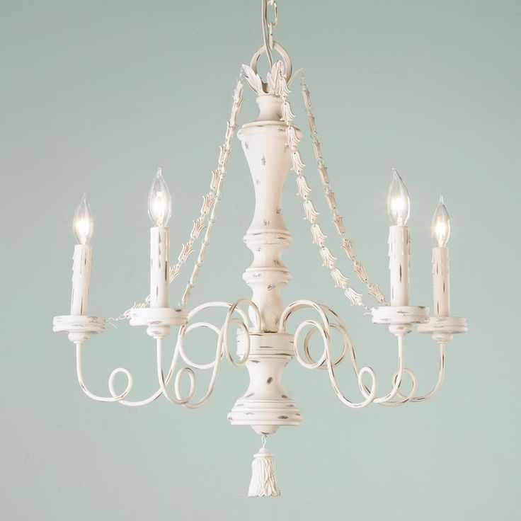 Shabby Cream Draping Garlands Chandelier (View 10 of 10)