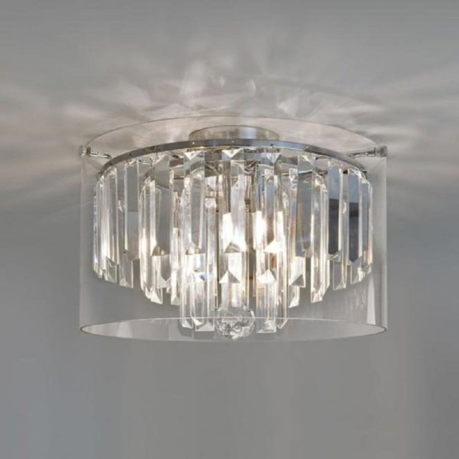 Small Flush Fitting Crystal Bathroom Chandelier, Ip44, Double Insulated Throughout Most Popular Flush Fitting Chandeliers (View 10 of 10)