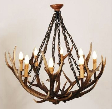 Stag Horn Chandelier Pertaining To 2018 Red Stag Antler Chandelier – Designsluca (View 6 of 10)