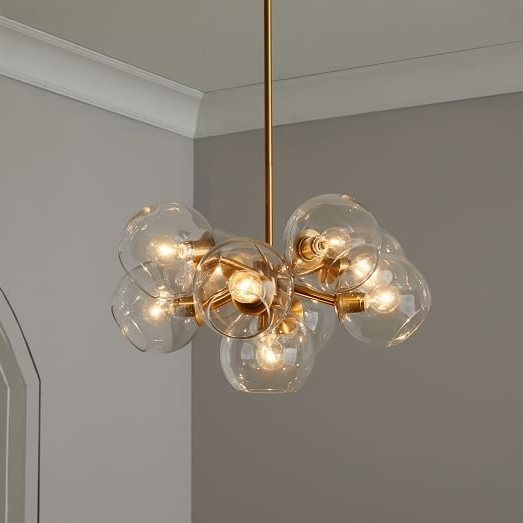 Staggered Glass Chandelier – 9 Light (View 4 of 10)