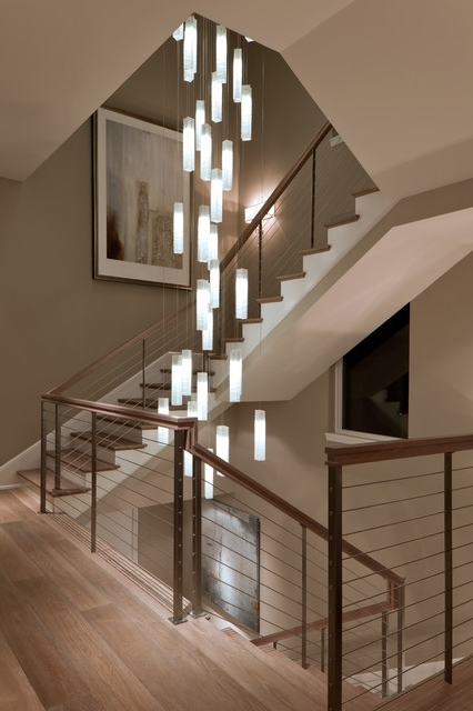 Stairwell Chandelier Lighting Pertaining To Most Popular Tanzania Chandelier – Contemporary Living Room Stairwell Light (View 7 of 10)