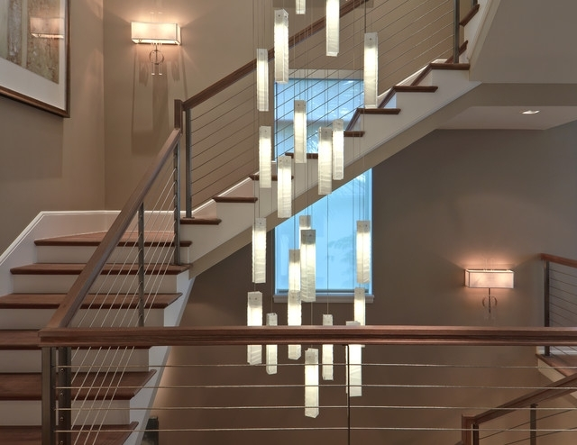 Stairwell Chandelier Throughout Well Known Tanzania Chandelier – Contemporary Living Room Stairwell Light (View 3 of 10)