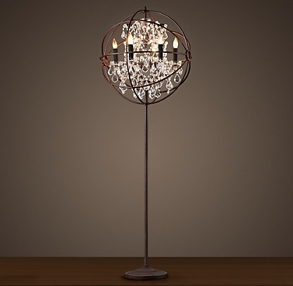 Standing Caged Chandelier Floor Lamp On The Hunt Antique Crystal Regarding Trendy Free Standing Chandelier Lamps (View 4 of 10)