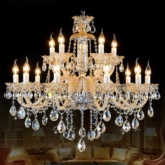 Star Hotel Milk White Crystal Chandelier 15 Arms Antique Candle With Regard To Trendy Chandeliers Vintage (View 7 of 10)