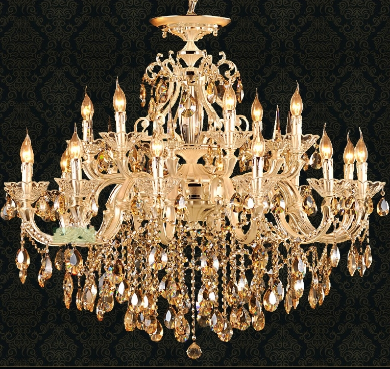 Svitz Gold Led Candle Chandelier Lighting For Living Room Hotel Within Famous Crystal Gold Chandelier (View 5 of 10)