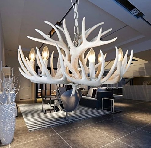 The Uk's In White Antler Chandelier (View 2 of 10)