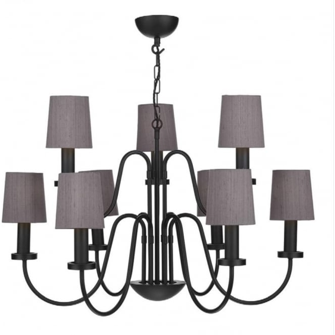 Traditional 9 Light Black Chandelier With Truffle Silk Candle Shades Intended For Fashionable Large Black Chandelier (View 7 of 10)