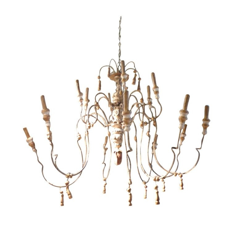 Trendy 18th Century Style Wood And Iron French Chandelier For At 1stdibs With Regard To