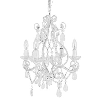 Trendy Amazon : Tadpoles 4 Bulb Vintage Plug In Mini Chandelier, White Within White Chandelier (View 4 of 10)