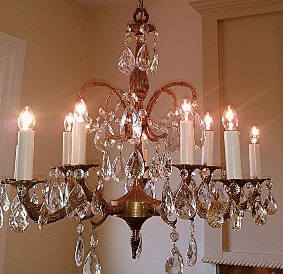 Trendy Antique Crystal Chandelier Large 5 Arm 10 Light Made In Spain Solid Throughout Brass And Crystal Chandelier (View 6 of 10)