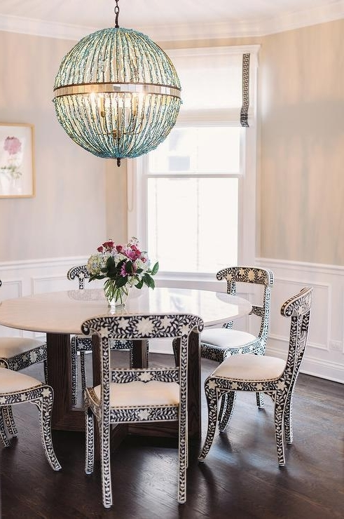 Trendy Black And White Bone Inlay Dining Chairs With Turquoise Blue Beaded With Turquoise Orb Chandeliers (View 10 of 10)