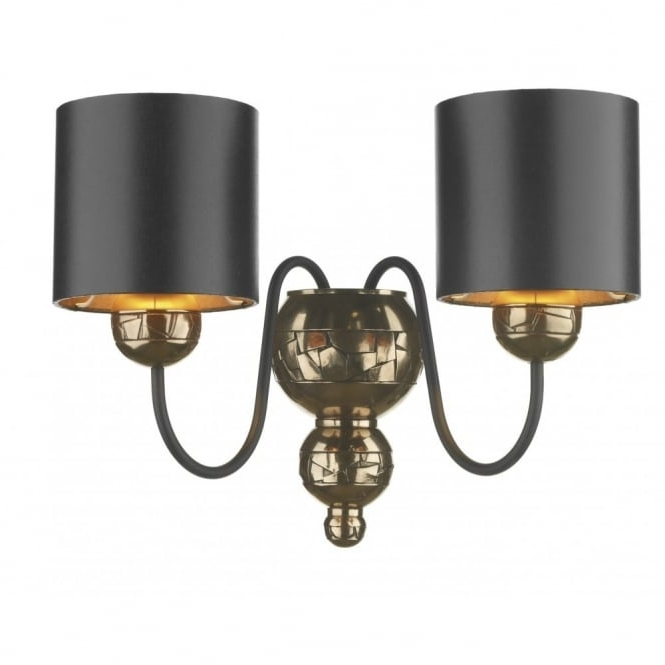 Trendy Black Chandelier Wall Lights With Traditional Bronze Double Wall Light Black Fabric Shades Double (View 9 of 10)