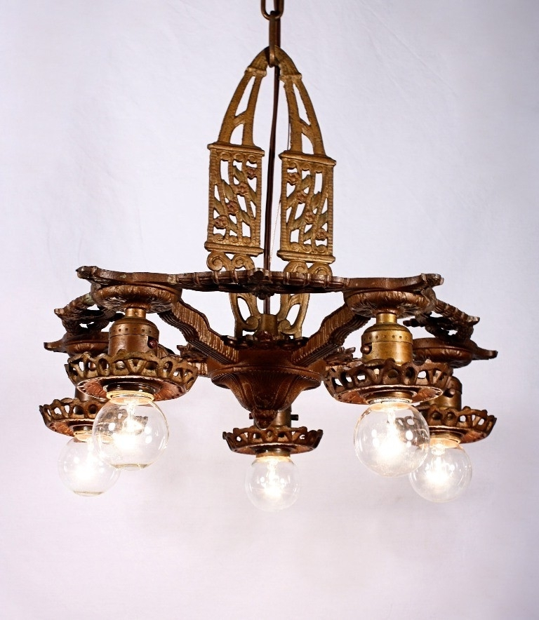 Trendy Cast Iron Antique Chandelier Intended For Antique Art Deco Five Light Cast Iron Chandelier – Preservation (View 4 of 10)