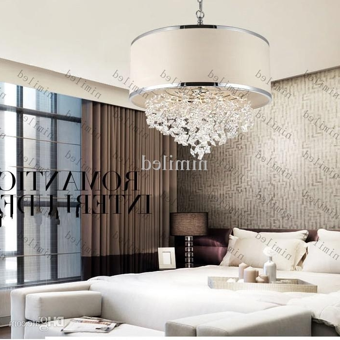 Trendy Chandeliers Inside Fashionable Modern Trendy White Lampshade Chandelier K9 Crystal Lamp Bedroom (View 10 of 10)